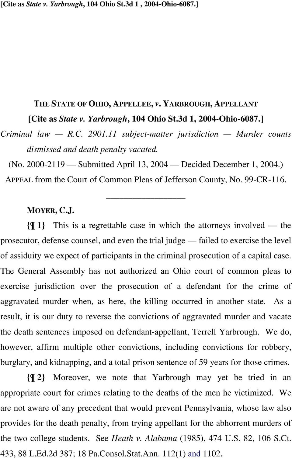 ) APPEAL from the Court of Common Pleas of Je