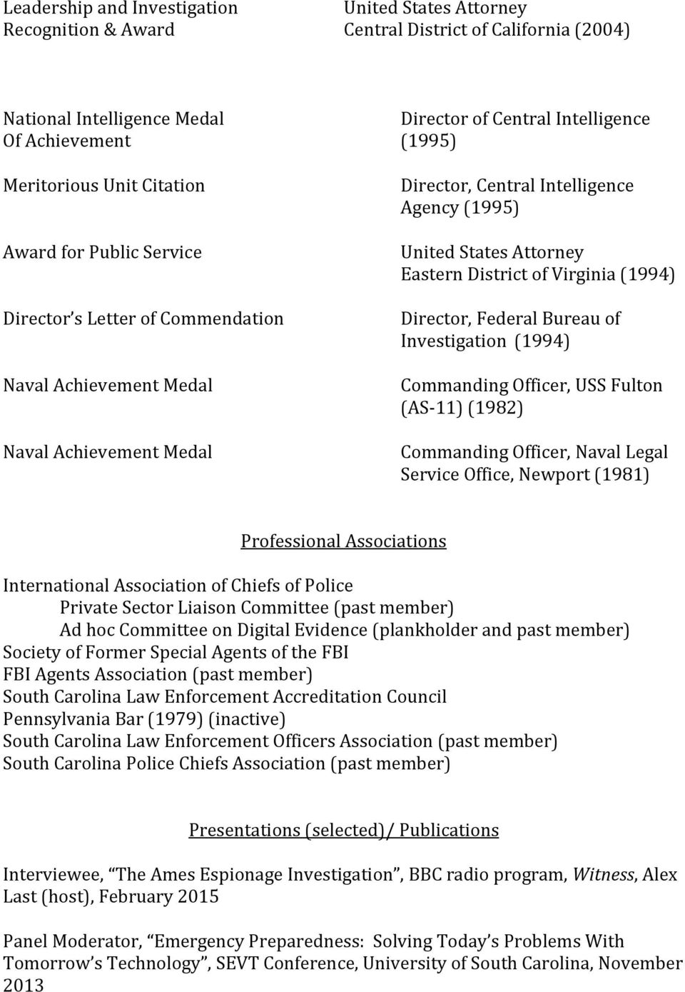 Attorney Eastern District of Virginia (1994) Director, Federal Bureau of Investigation (1994) Commanding Officer, USS Fulton (AS-11) (1982) Commanding Officer, Naval Legal Service Office, Newport