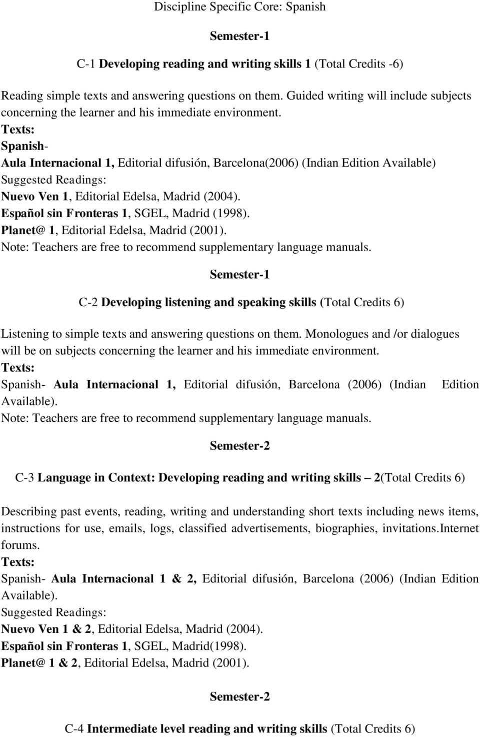 Spanish- Aula Internacional 1, Editorial difusión, Barcelona(2006) (Indian Edition Available) Suggested Readings: Nuevo Ven 1, Editorial Edelsa, Madrid (2004).