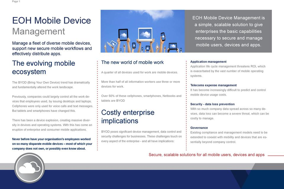 EOH is a simple, scalable solution to give enterprises the basic capabilities necessary to secure and manage mobile users, devices and apps.