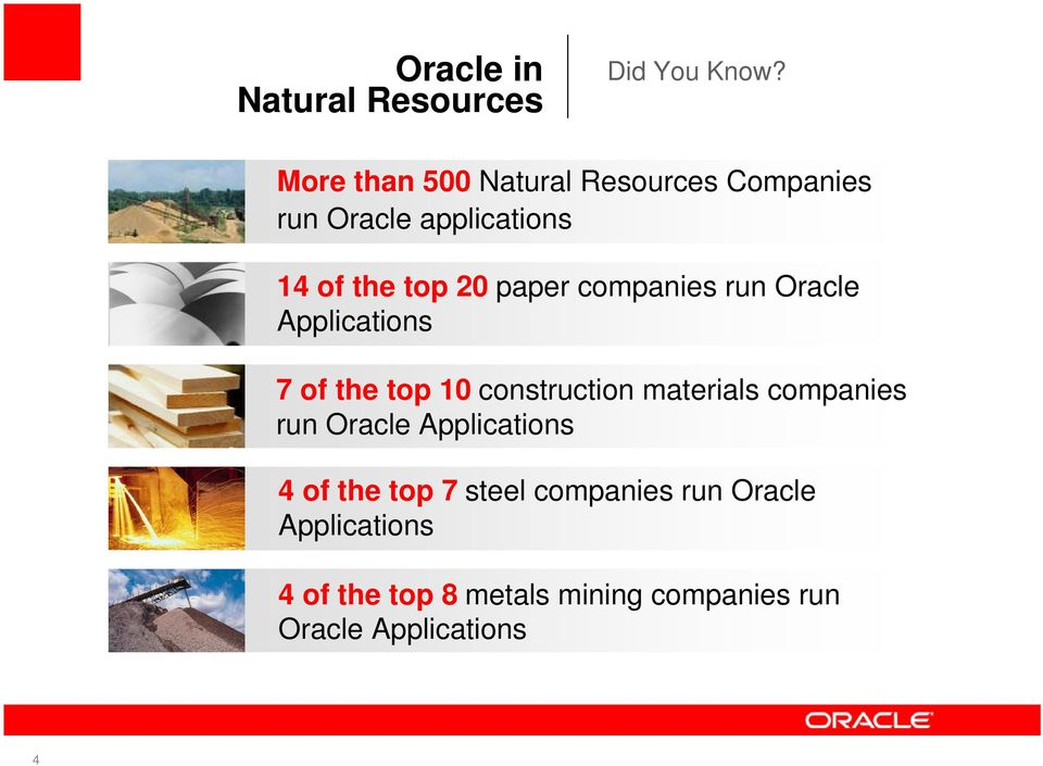 companies run Oracle Applications 7 of the top 10 construction materials companies run