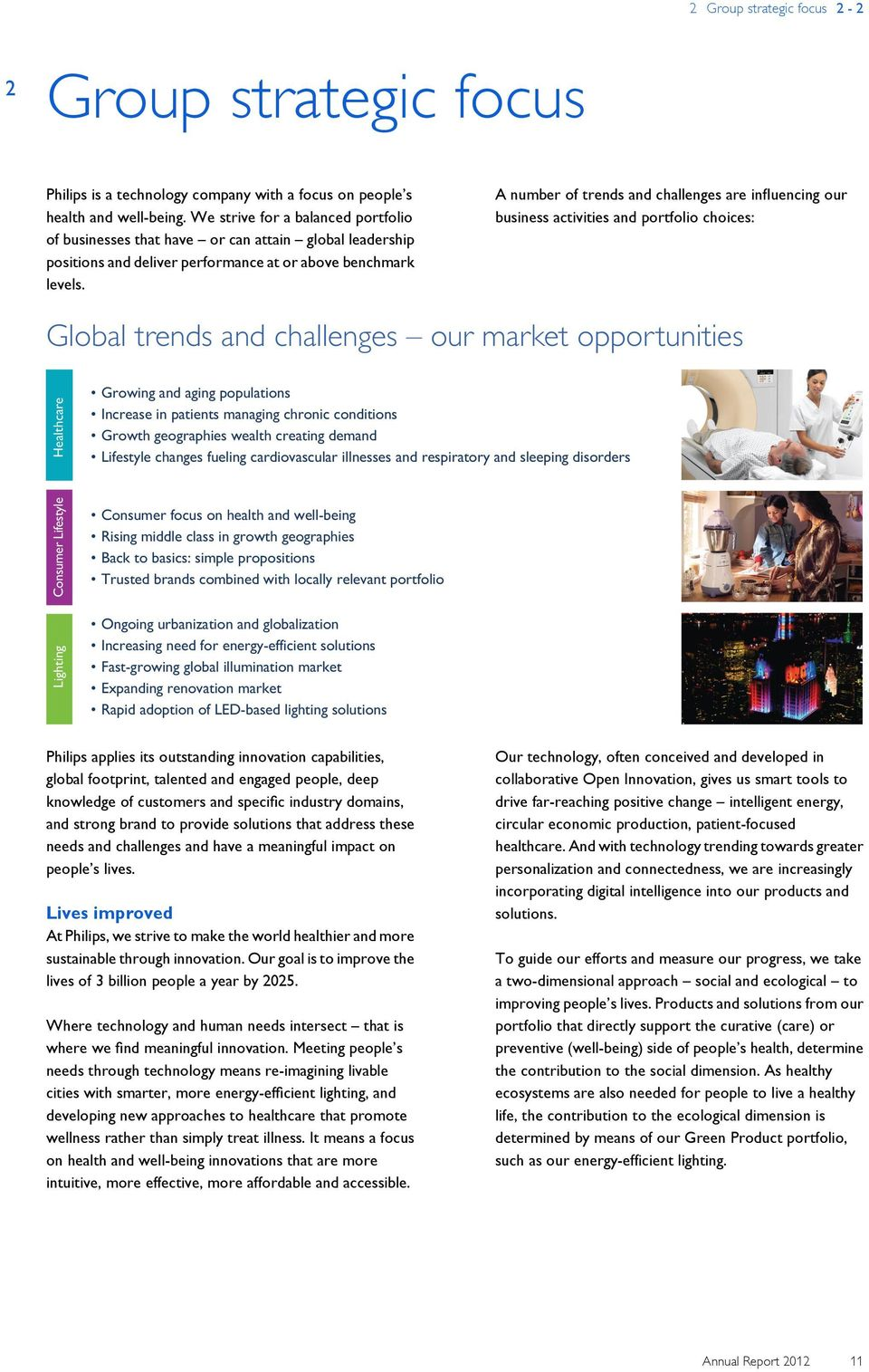 A number of trends and challenges are influencing our business activities and portfolio choices: Global trends and challenges our market opportunities Lighting Consumer Lifestyle Healthcare Growing