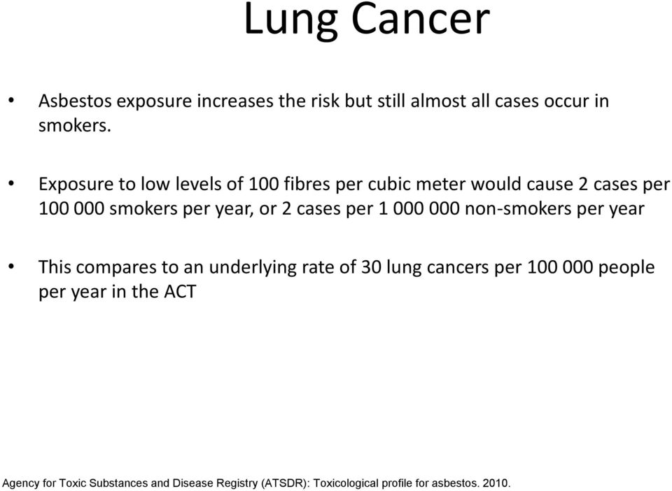 cases per 1 000 000 non-smokers per year This compares to an underlying rate of 30 lung cancers per 100 000