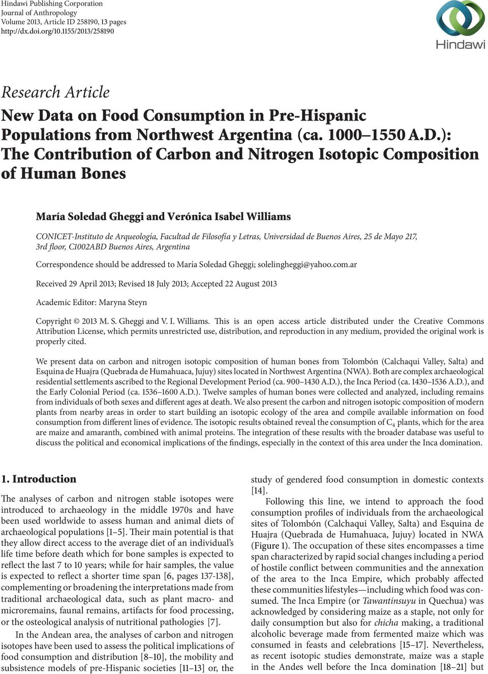 ta on Food Consumption in Pre-Hispanic Populations from Northwest Argentina (ca. 1000 1550 A.D.