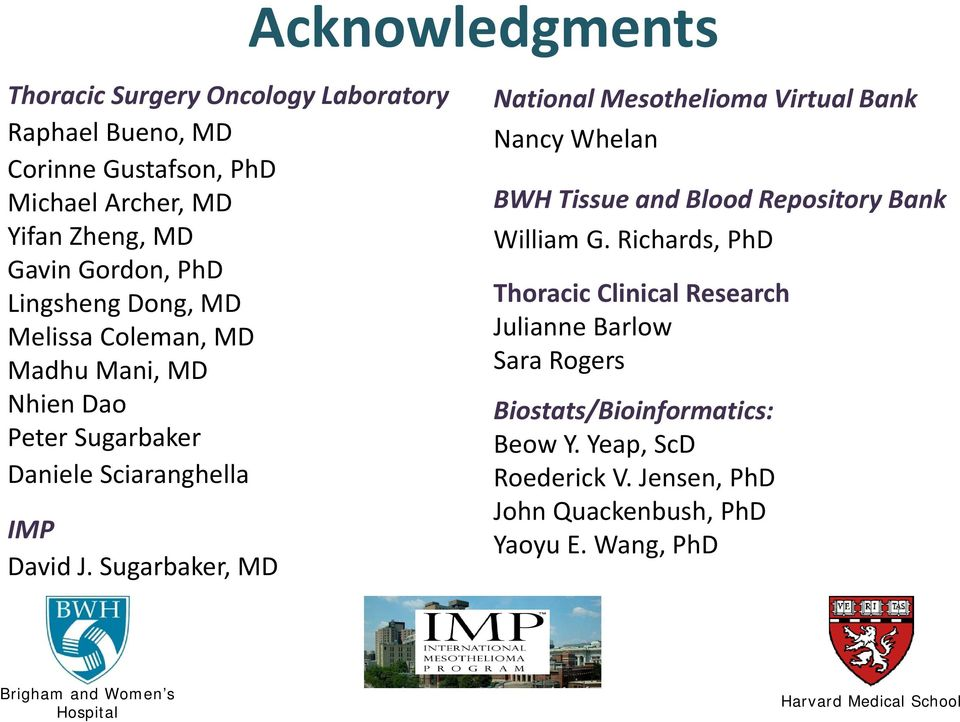 Sugarbaker, MD National Mesothelioma Virtual Bank Nancy Whelan BWH Tissue and Blood Repository Bank William G.