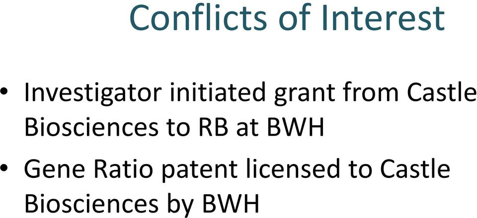 Biosciences to RB at BWH Gene Ratio