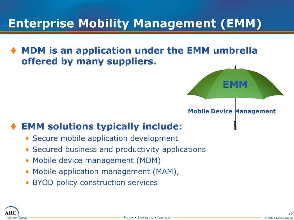 EMM EMM solutions typically include: Secure mobile application development Secured