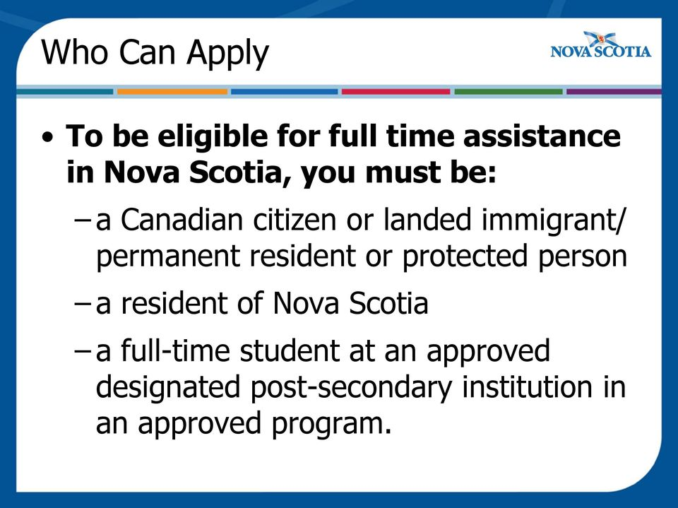 resident or protected person a resident of Nova Scotia a full-time