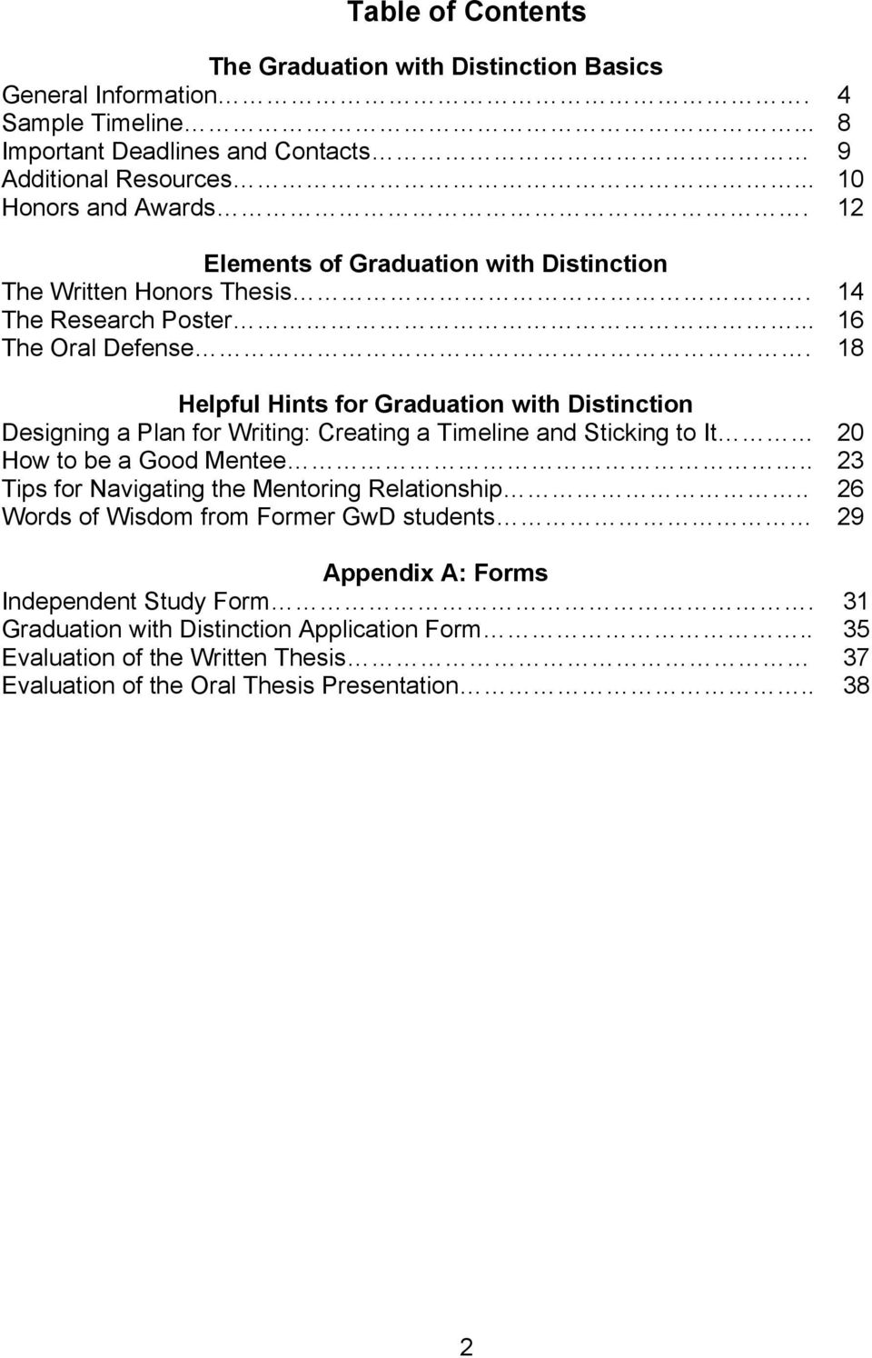 18 Helpful Hints for Graduation with Distinction Designing a Plan for Writing: Creating a Timeline and Sticking to It 20 How to be a Good Mentee.