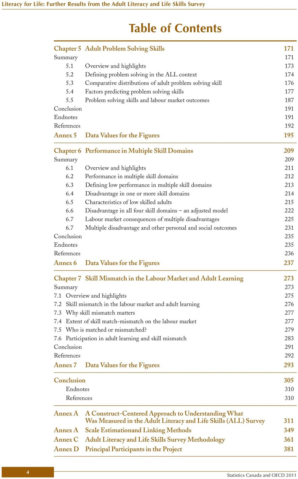 5 Problem solving skills and labour market outcomes 187 Conclusion 191 Endnotes 191 References 192 Annex 5 Data Values for the Figures 195 Chapter 6 Performance in Multiple Skill Domains 209 Summary