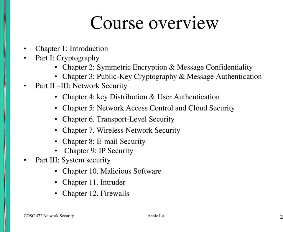 Access Control and Cloud Security Chapter 6. Transport-Level Security Chapter 7.