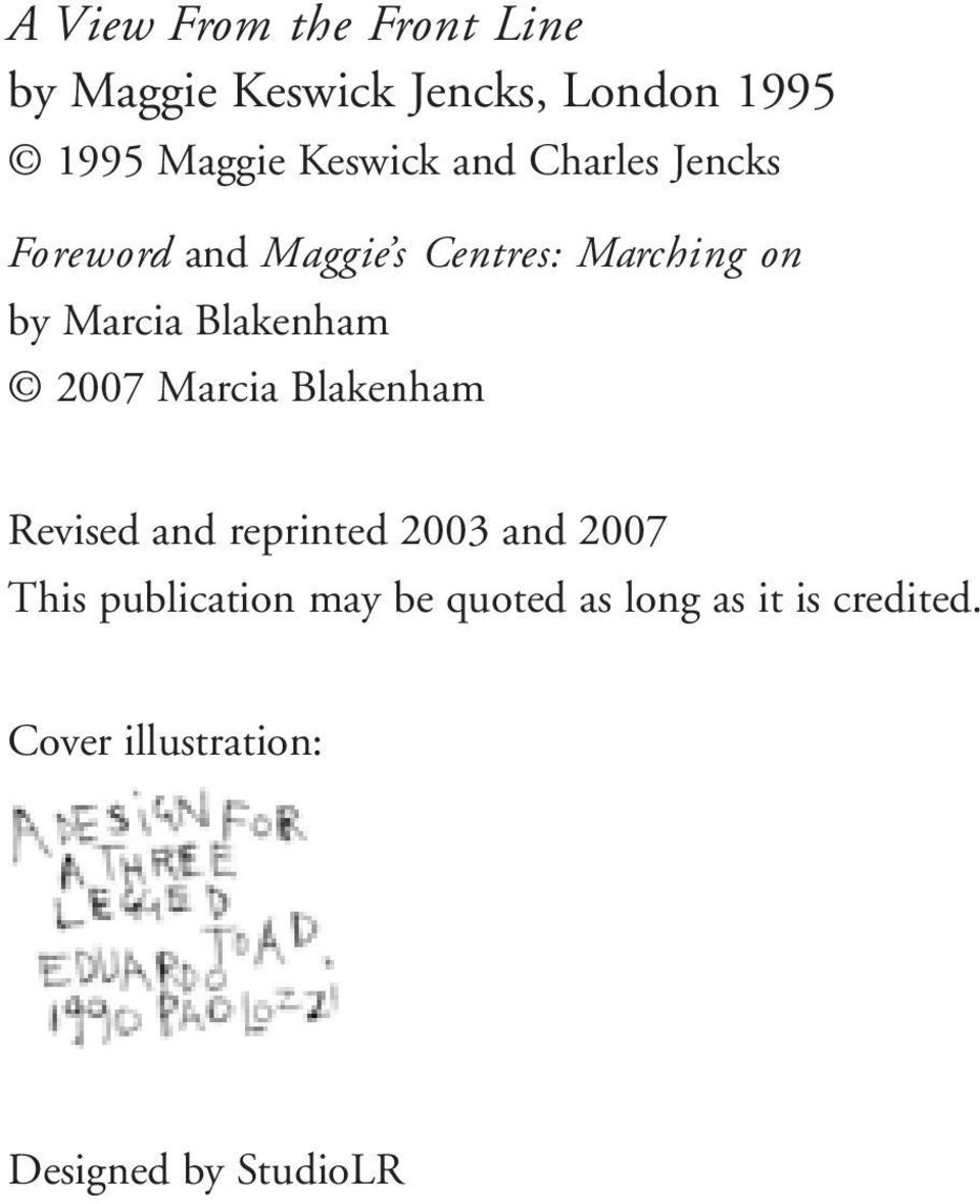 Blakenham 2007 Marcia Blakenham Revised and reprinted 2003 and 2007 This