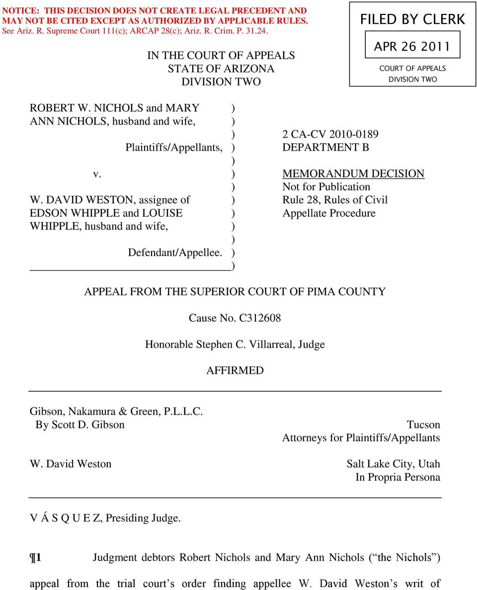 NICHOLS and MARY ) ANN NICHOLS, husband and wife, ) ) 2 CA-CV 2010-0189 Plaintiffs/Appellants, ) DEPARTMENT B ) v. ) MEMORANDUM DECISION ) Not for Publication W.