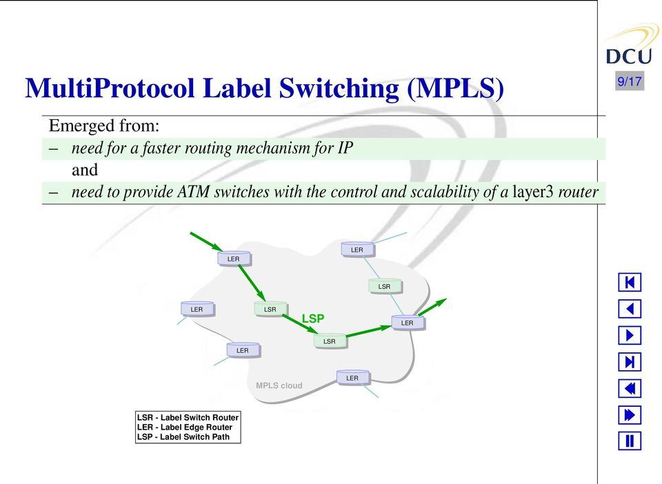 scalability of a layer3 router 9/17 LER LER LSR - Label Switch Router LER -