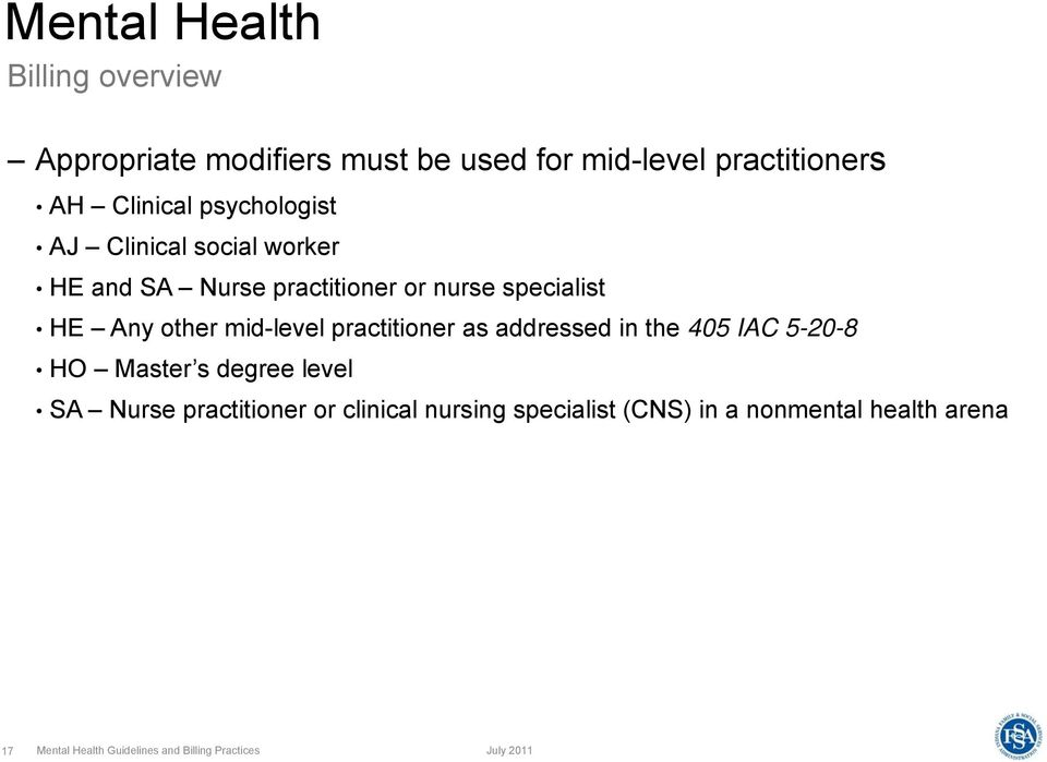 mid-level practitioner as addressed in the 405 IAC 5-20-8 HO Master s degree level SA Nurse practitioner or