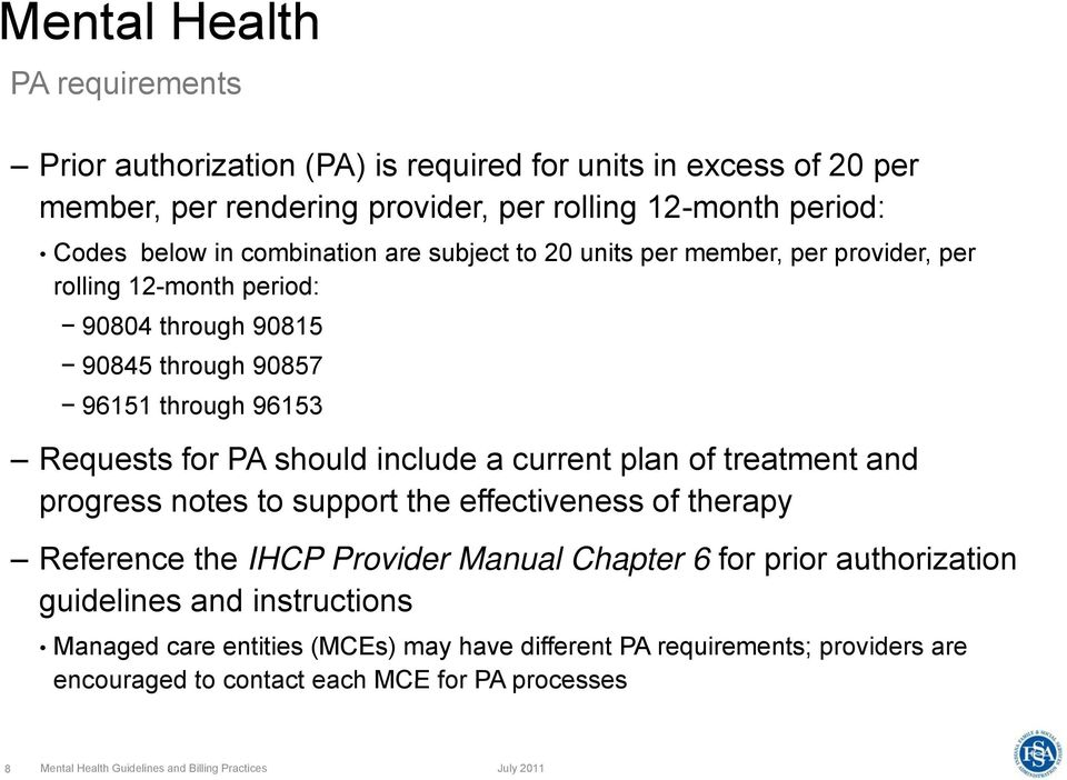 include a current plan of treatment and progress notes to support the effectiveness of therapy Reference the IHCP Provider Manual Chapter 6 for prior authorization guidelines and