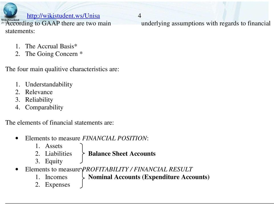 Comparability The elements of financial statements are: Elements to measure FINANCIAL POSITION: 1. Assets 2.