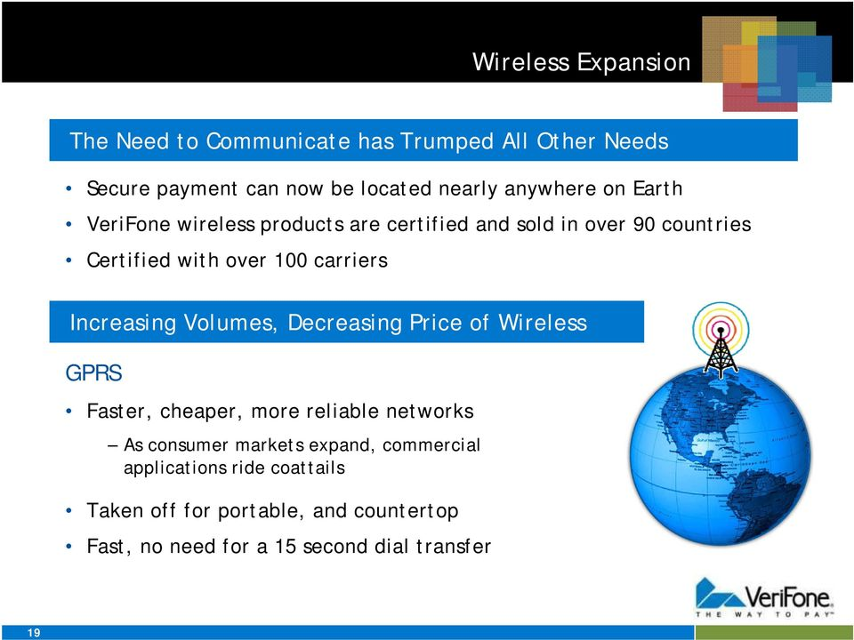 carriers Increasing Volumes, Decreasing Price of Wireless GPRS Faster, cheaper, more reliable networks As consumer