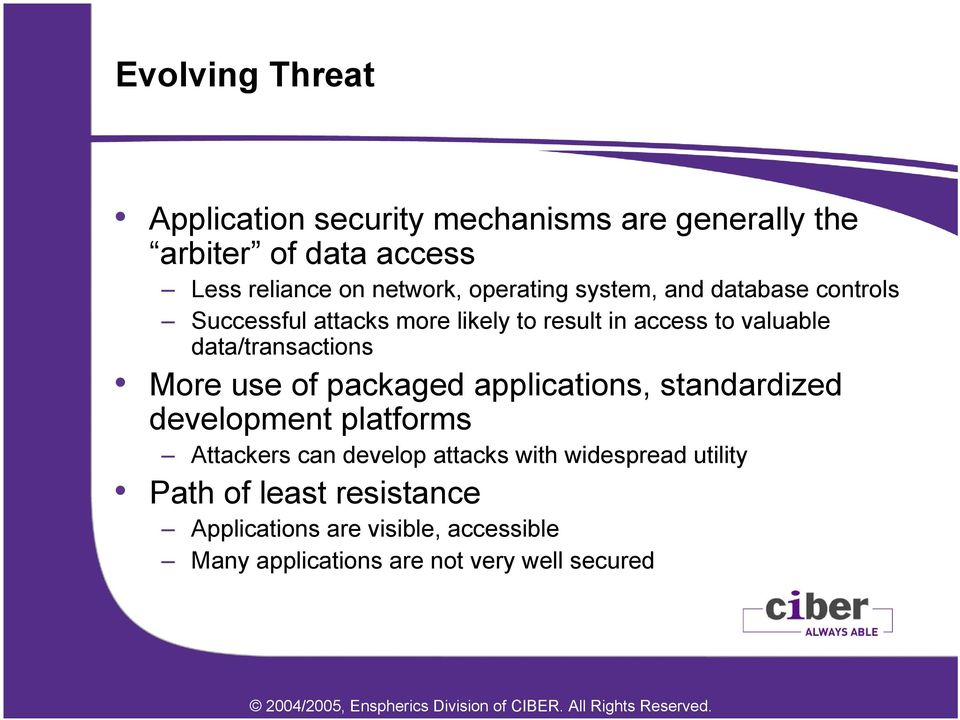 data/transactions More use of packaged applications, standardized development platforms Attackers can develop