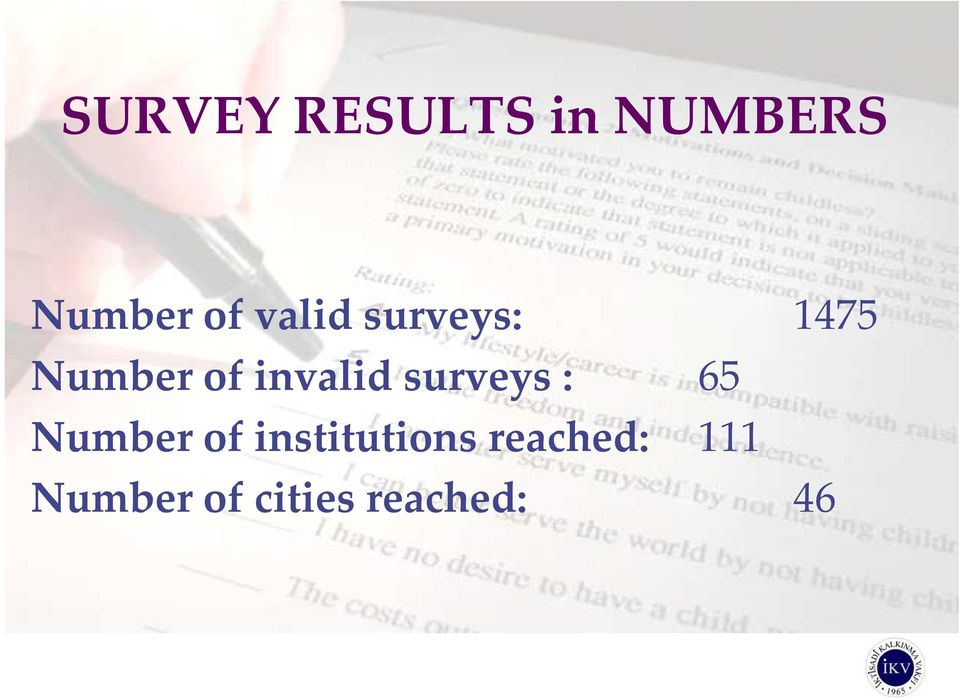 surveys : 65 Number of institutions