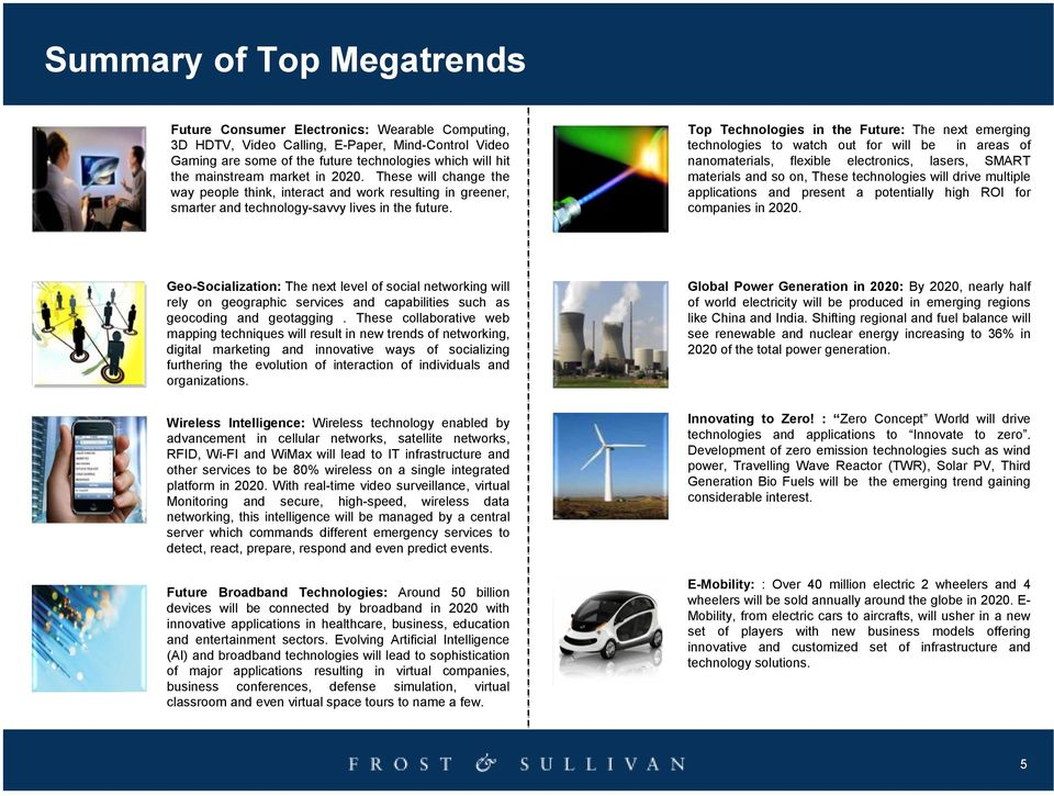 Top Technologies in the Future: The next emerging technologies to watch out for will be in areas of nanomaterials, flexible electronics, lasers, SMART materials and so on, These technologies will