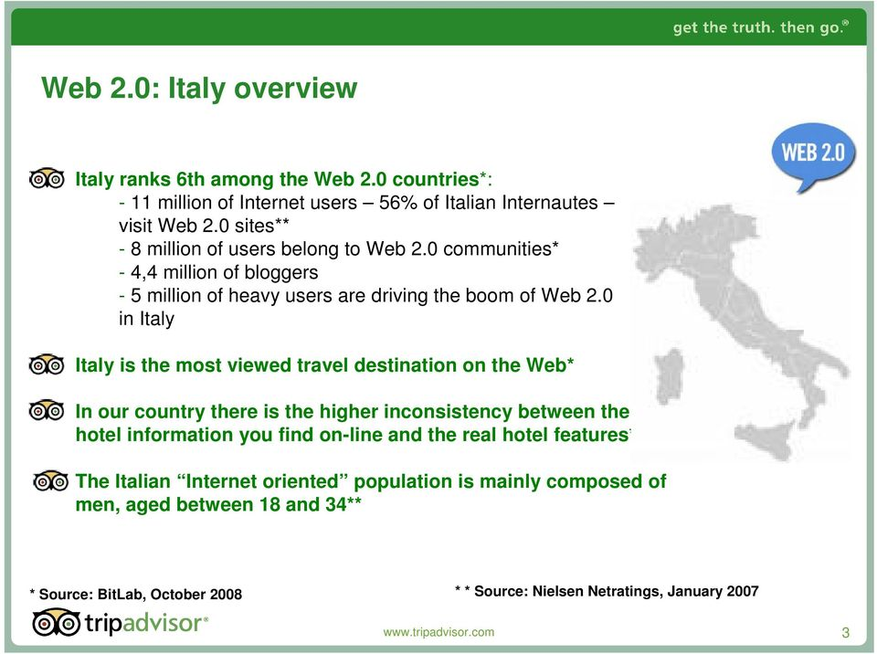 0 in Italy Italy is the most viewed travel destination on the Web* In our country there is the higher inconsistency between the hotel information you find on-line and