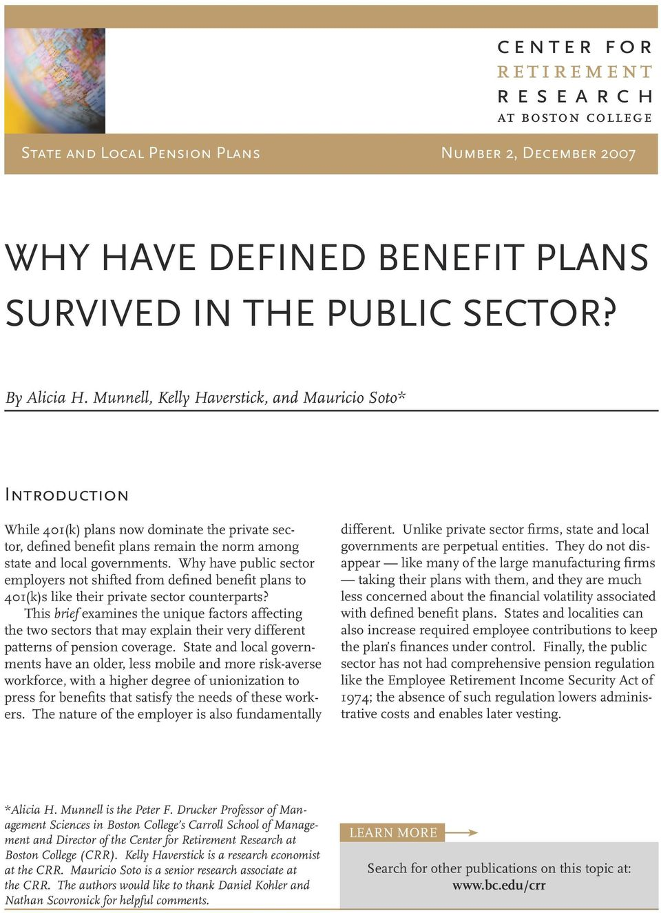 Why have public sector employers not shifted from defined benefit plans to 401(k)s like their private sector counterparts?