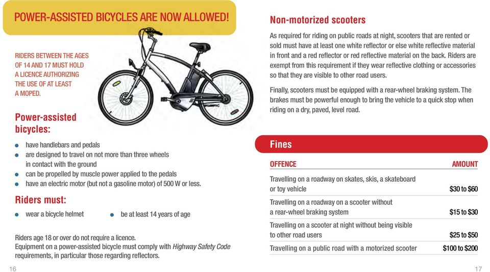 electric motor (but not a gasoline motor) of 500 W or less. Riders must: wear a bicycle helmet be at least 14 years of age Riders age 18 or over do not require a licence.