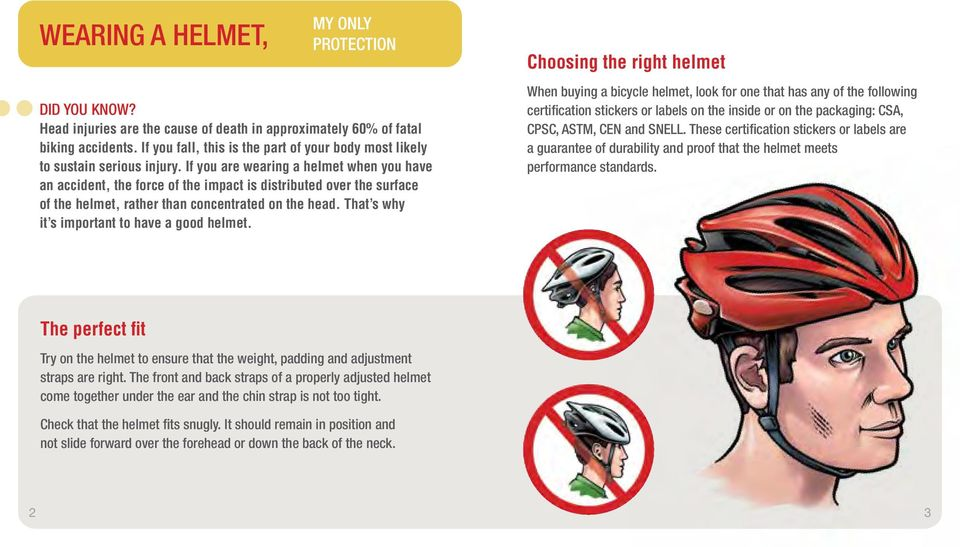 If you are wearing a helmet when you have an accident, the force of the impact is distributed over the surface of the helmet, rather than concentrated on the head.
