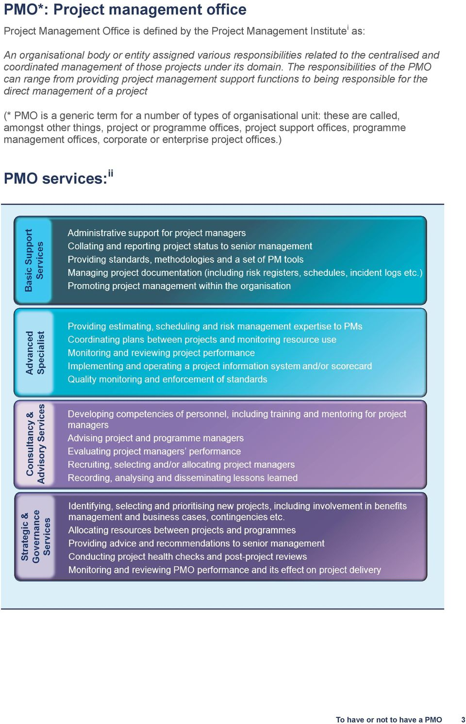 The responsibilities of the PMO can range from providing project management support functions to being responsible for the direct management of a project (* PMO is a generic