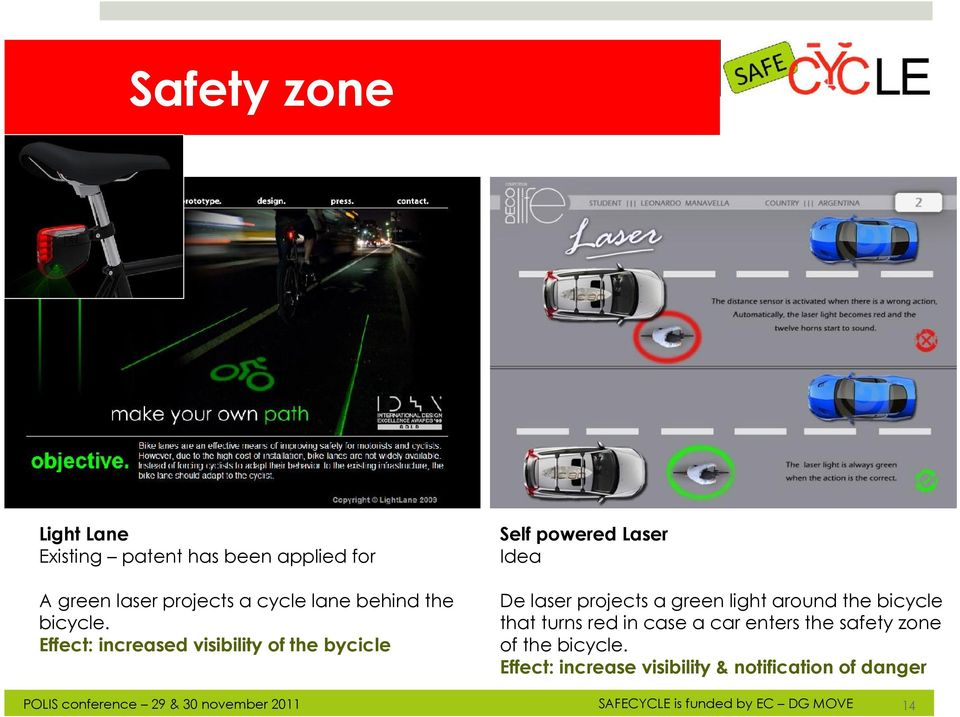 Effect: increased visibility of the bycicle De laser projects a green light around the
