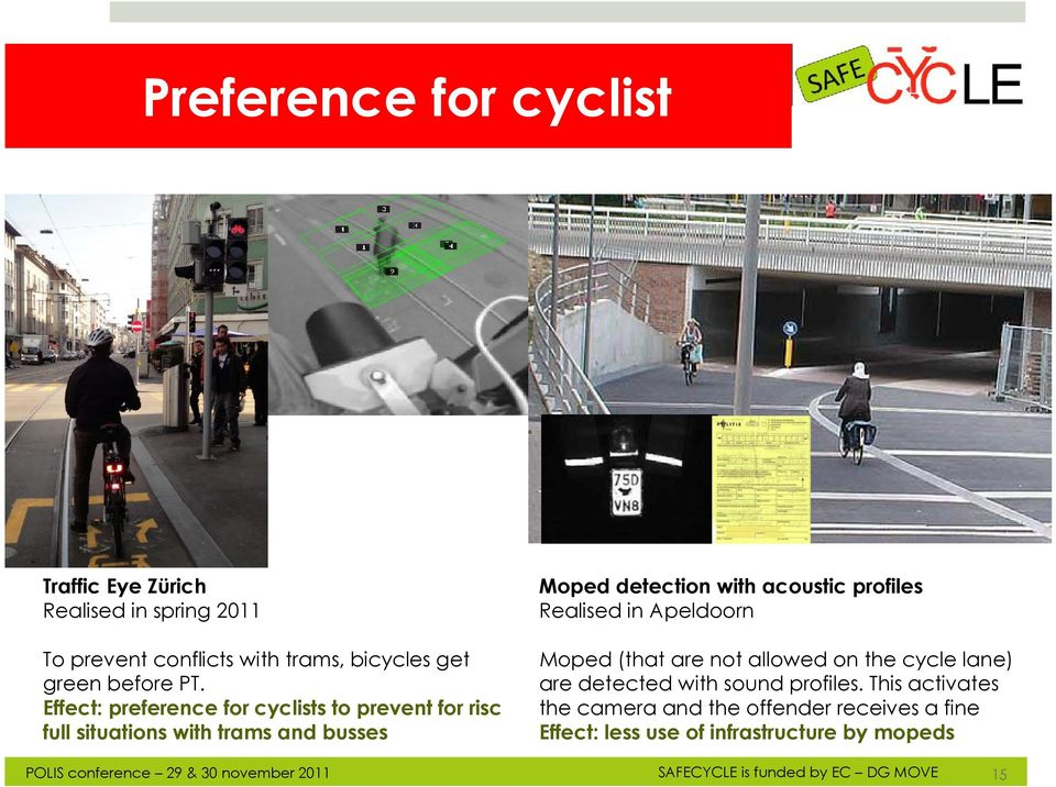 Effect: preference for cyclists to prevent for risc full situations with trams and busses Moped (that are not