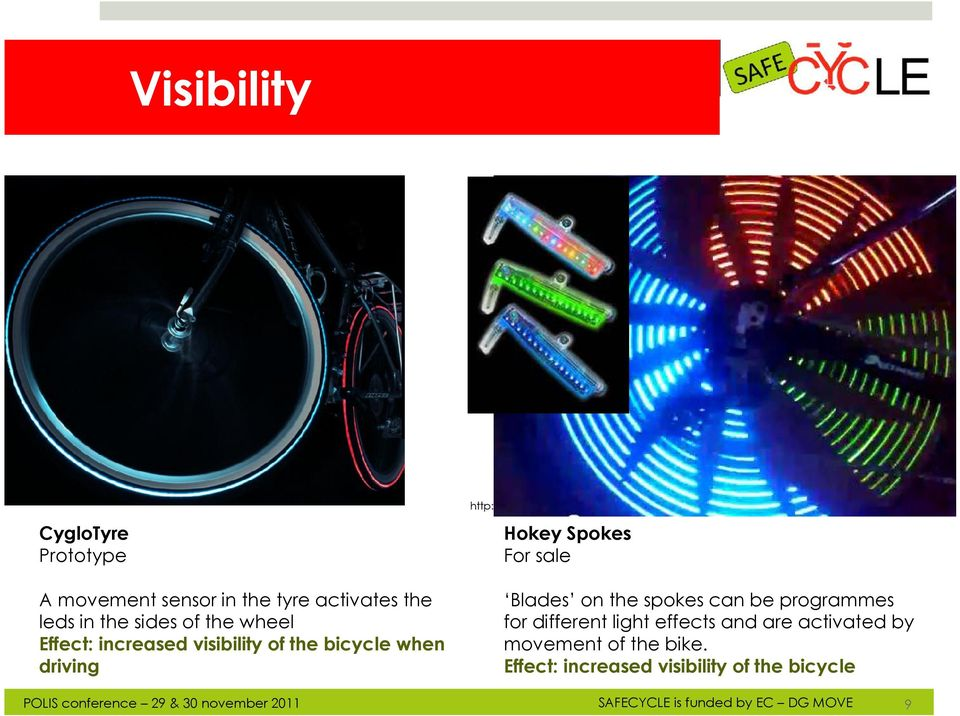 sides of the wheel Effect: increased visibility of the bicycle when driving Blades on the spokes can