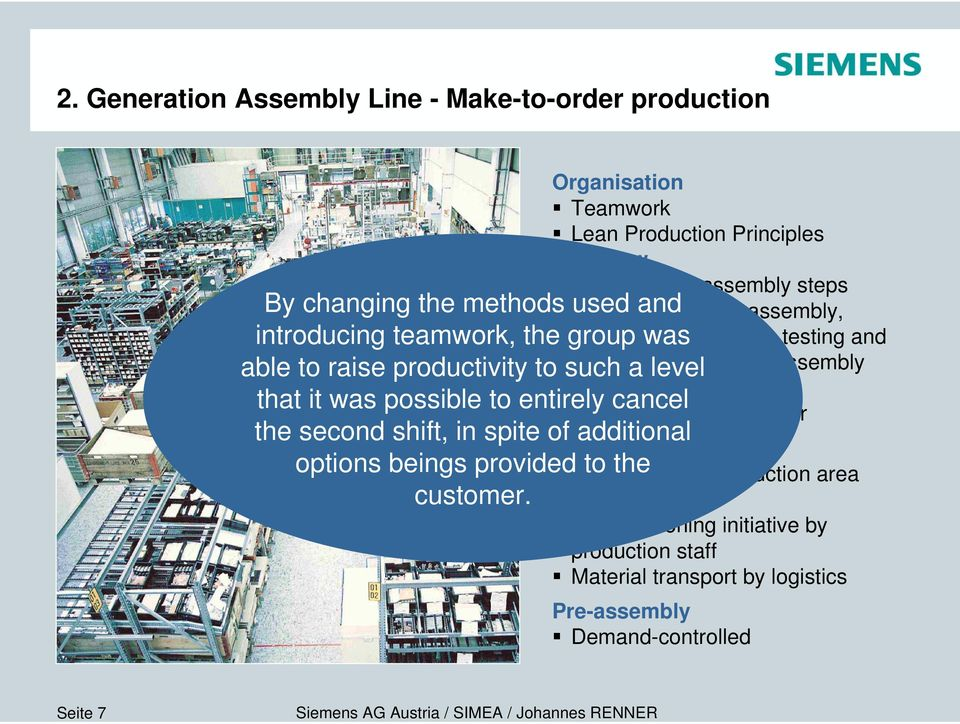 Organisation Teamwork Lean Production Principles Workflow Production in assembly steps Customer-specific assembly, Integration of options, testing and packaging during