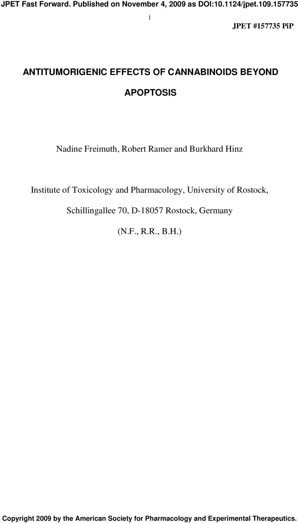 Burkhard Hinz Institute of Toxicology and Pharmacology, University of Rostock, Schillingallee 70,