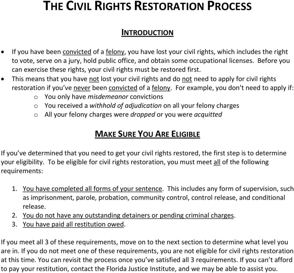This means that you have not lost your civil rights and do not need to apply for civil rights restoration if you ve never been convicted of a felony.