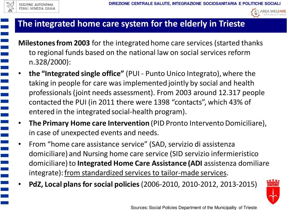 328/2000): the Integrated single office (PUI -PuntoUnicoIntegrato), where the taking in people for care was implemented jointly by social and health professionals (joint needs assessment).