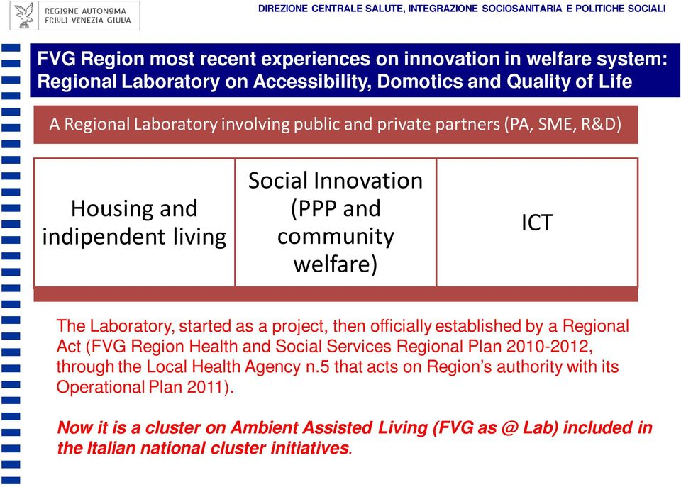 ICT The Laboratory, started as a project, then officially established by a Regional Act (FVG Region Health and Social Services Regional Plan 2010-2012, through the Local Health