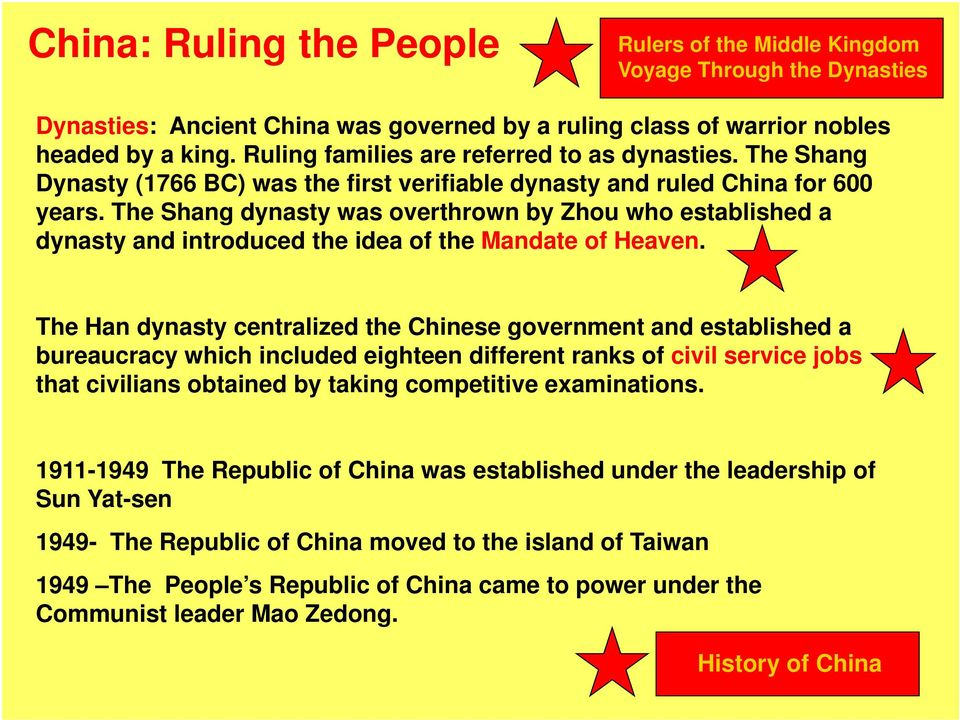 The Shang dynasty was overthrown by Zhou who established a dynasty and introduced the idea of the Mandate of Heaven.
