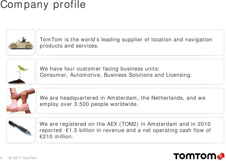 We are headquartered in Amsterdam, the Netherlands, and we employ over 3,500 people worldwide.