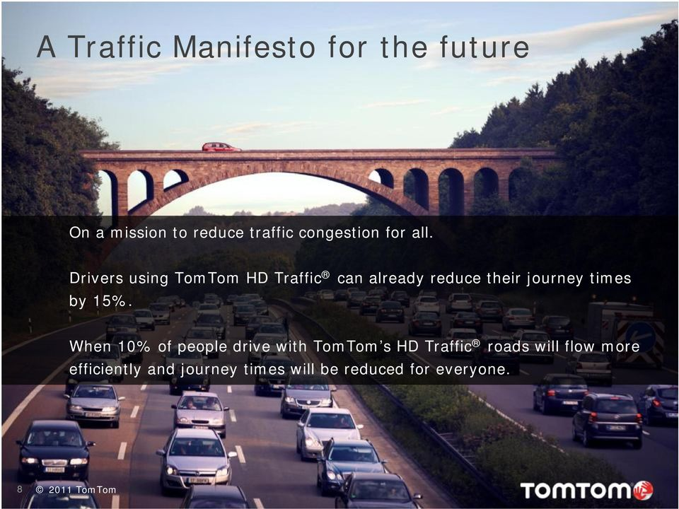 Drivers using TomTom HD Traffic can already reduce their journey times by 15%.