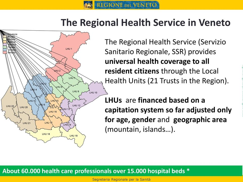 coverage to all resident citizens through the Local Health Units (21 Trusts in the Region).