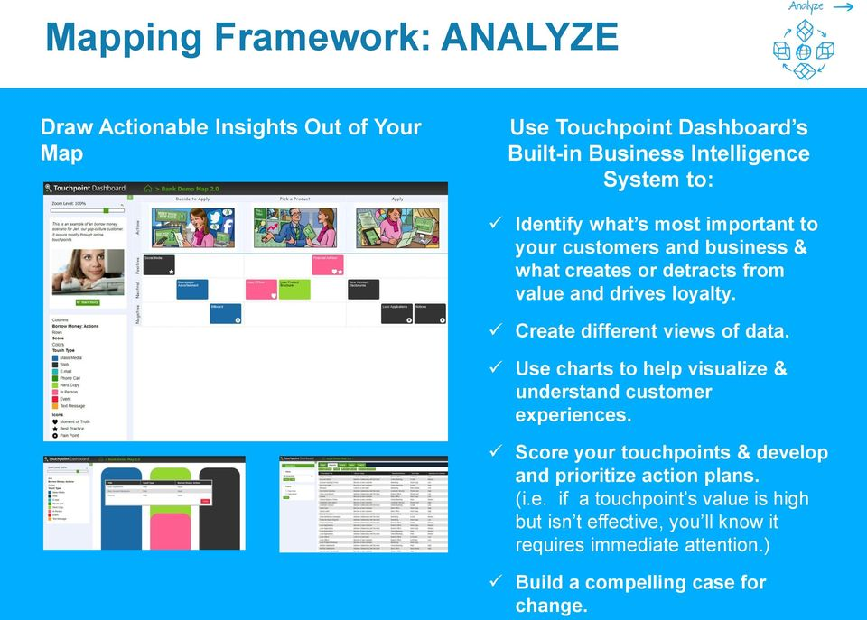Create different views of data. Use charts to help visualize & understand customer experiences.