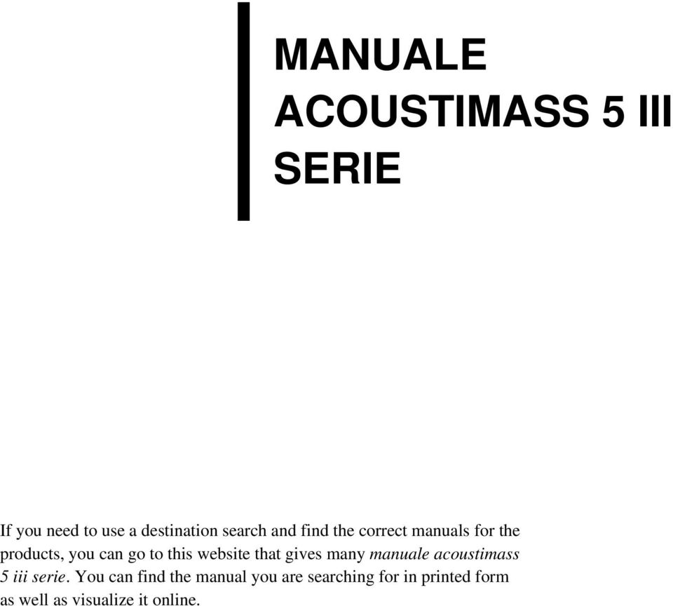 website that gives many manuale acoustimass 5 iii serie.