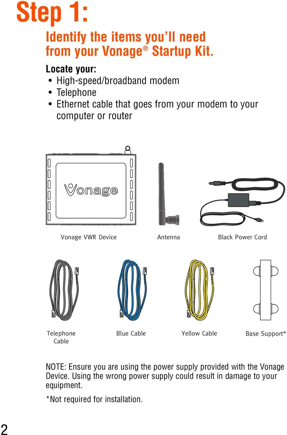 router Vonage VWR Device Antenna Black Power Cord Telephone Cable Blue Cable Yellow Cable Base Support* NOTE: Ensure