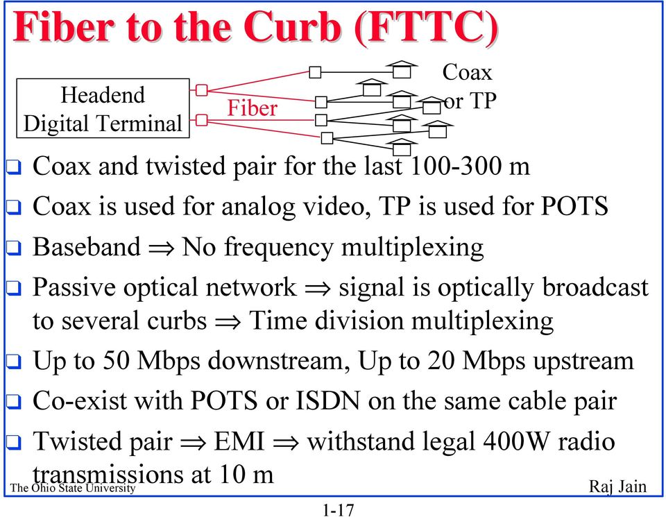 broadcast to several curbs Time division multiplexing Up to 50 Mbps downstream, Up to 20 Mbps upstream Co-exist with