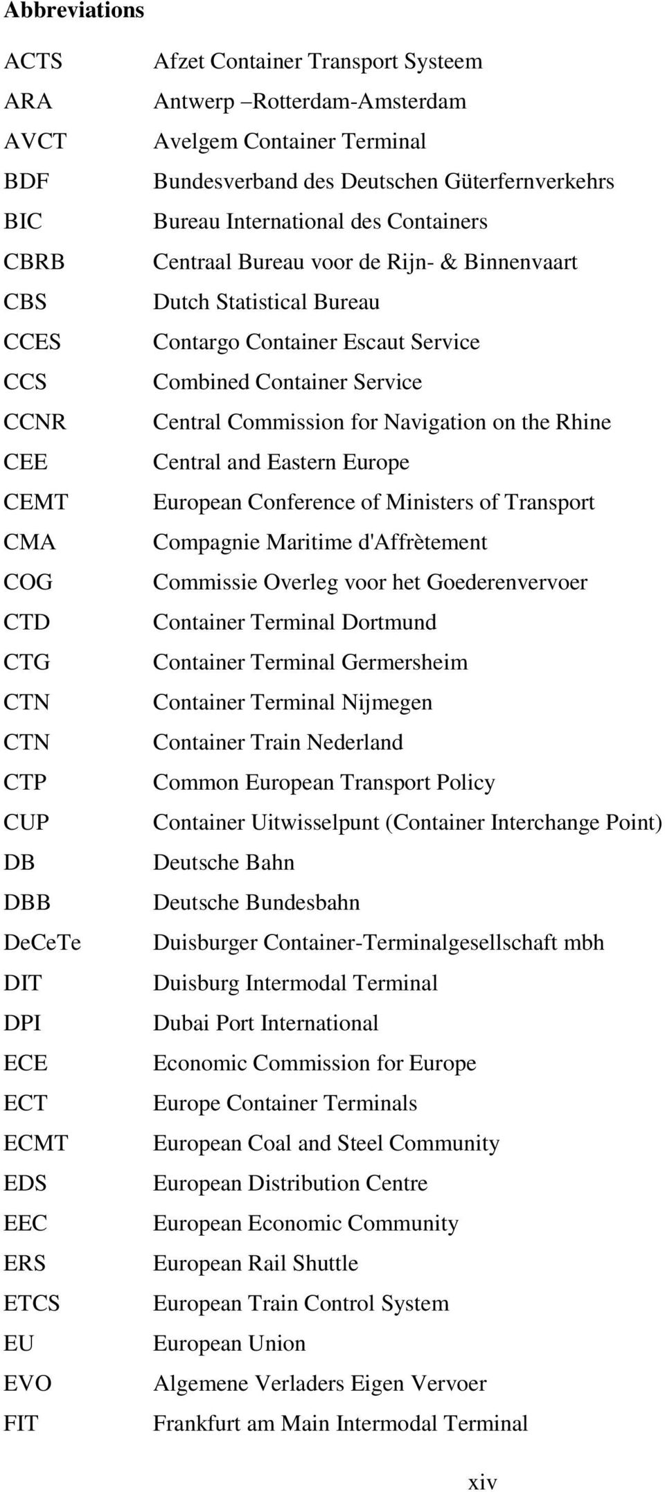Bureau Contargo Container Escaut Service Combined Container Service Central Commission for Navigation on the Rhine Central and Eastern Europe European Conference of Ministers of Transport Compagnie