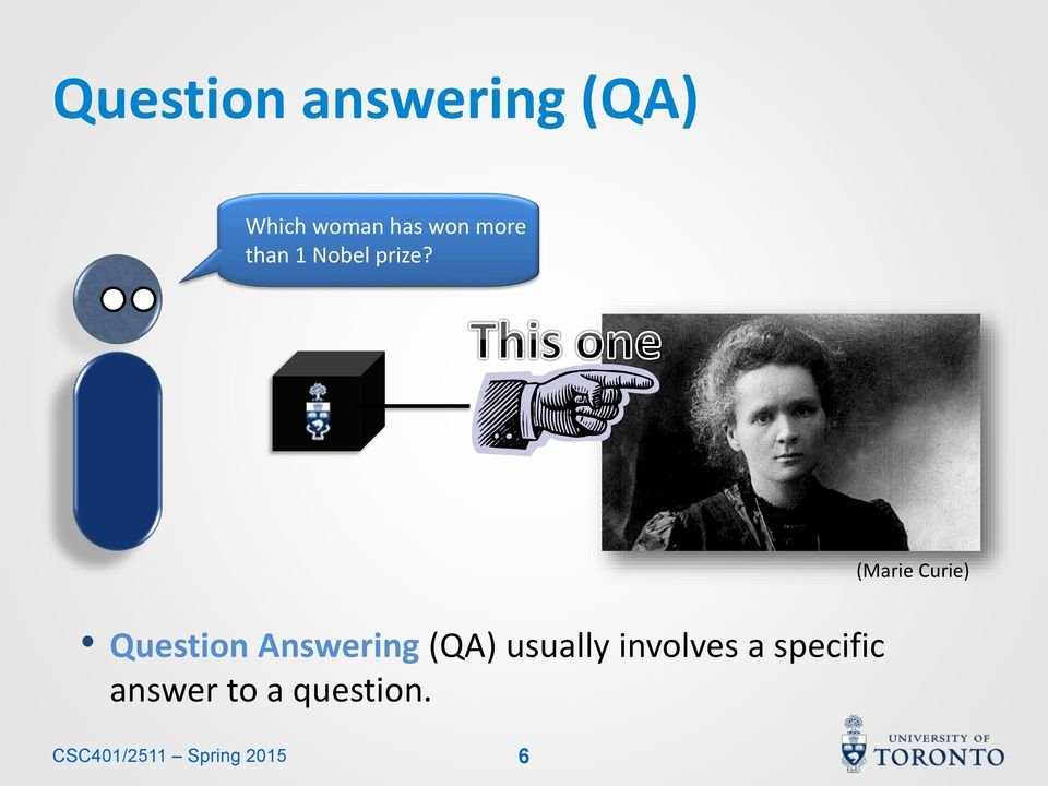 (Marie Curie) Question Answering (QA) usually