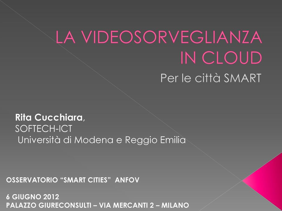 SMART CITIES ANFOV 6 GIUGNO 2012