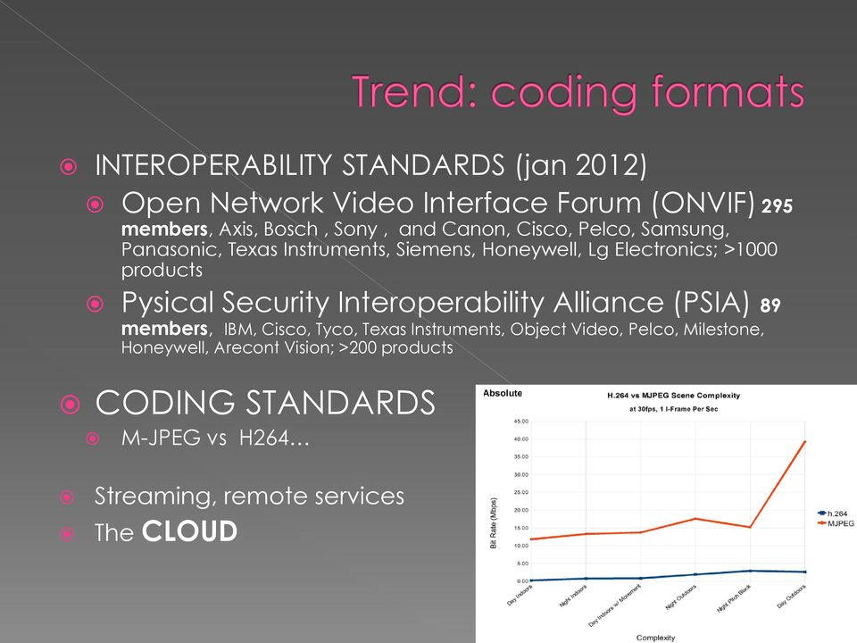 Pysical Security Interoperability Alliance (PSIA) 89 members, IBM, Cisco, Tyco, Texas Instruments, Object Video,